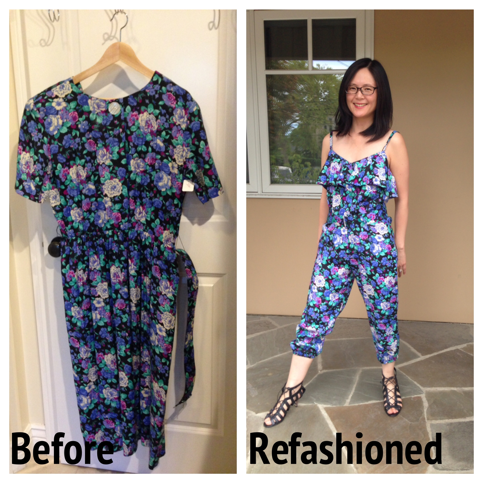 Refashion: Frumpy Floral Dress to Strappy Summer Jumpsuit ...
