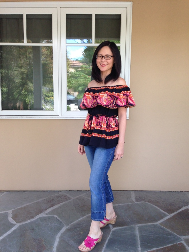 Refashioned and Upcycled $4 Thirfted Skirt into Off the Shoulder Shirt - Finished Shirt