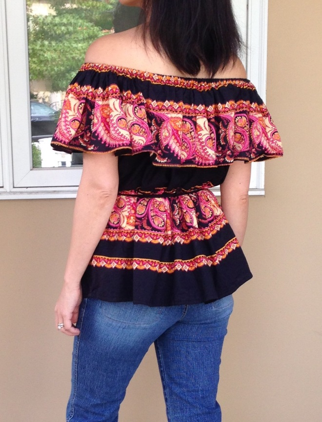 Refashioned $4 Thrifted Skirt into Off the shoulder Shirt - closeup of back