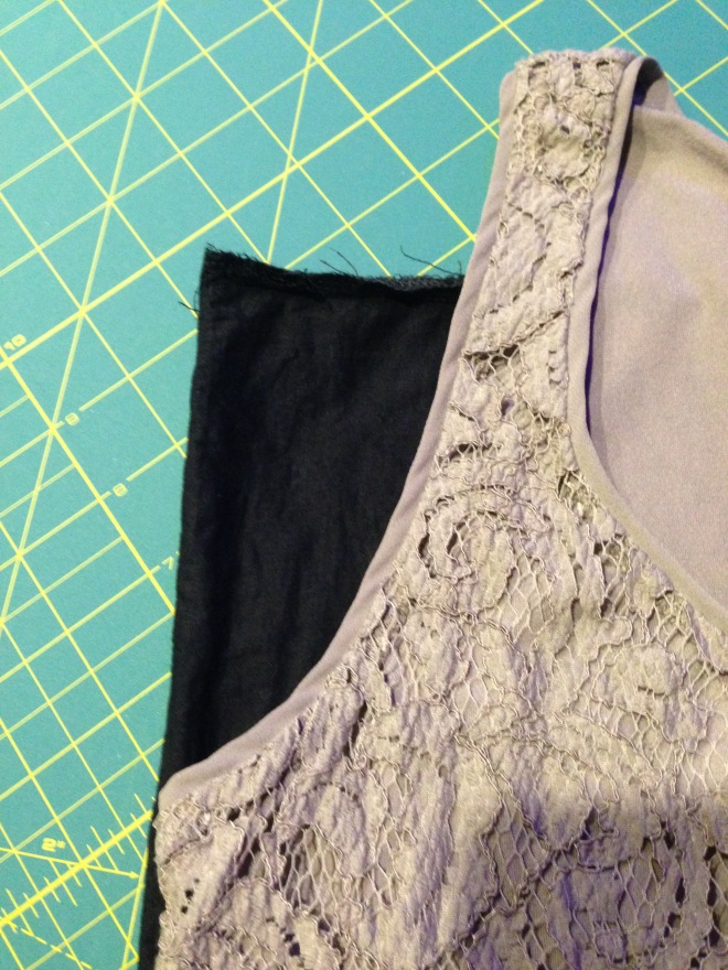 Refashioned and Upcycled $4 Thirfted Skirt into Off the Shoulder Shirt - traced armhole from ready to wear tank top