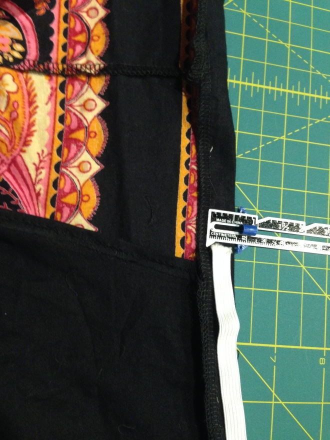 Refashioned and Upcycled $4 Thirfted Skirt into Off the Shoulder Shirt - measuring casing for elastic