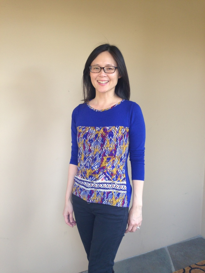 Refashioned Turtleneck into Long Sleeve T-shirt with Tribal Print - finished shirt