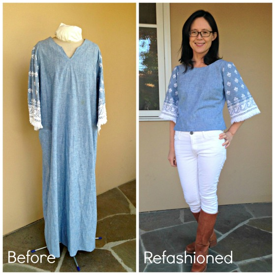 Refashion a house dress into a blouse with bell sleeves