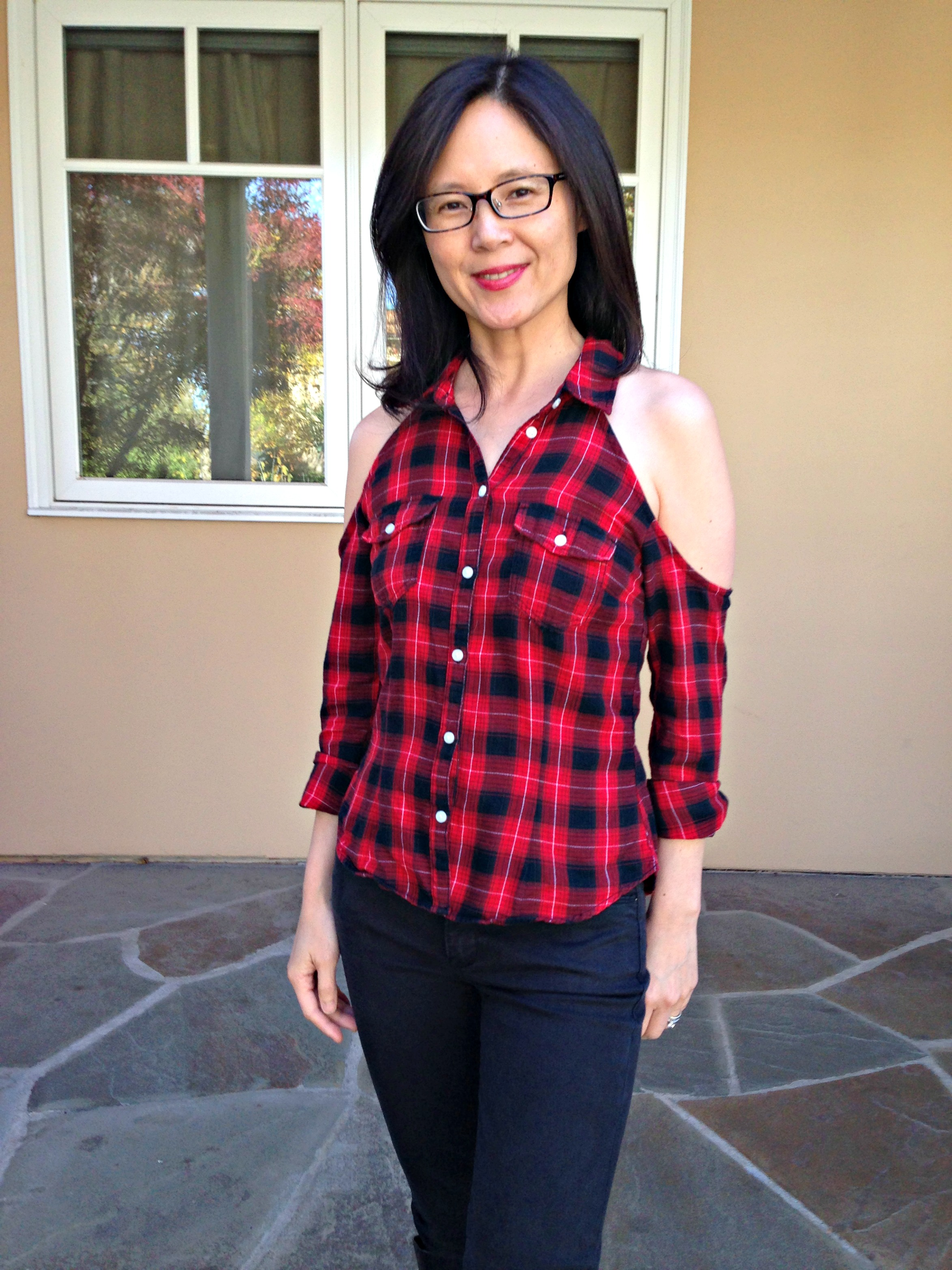 Cold Shoulder Flannel Shirt Refashion - Front View