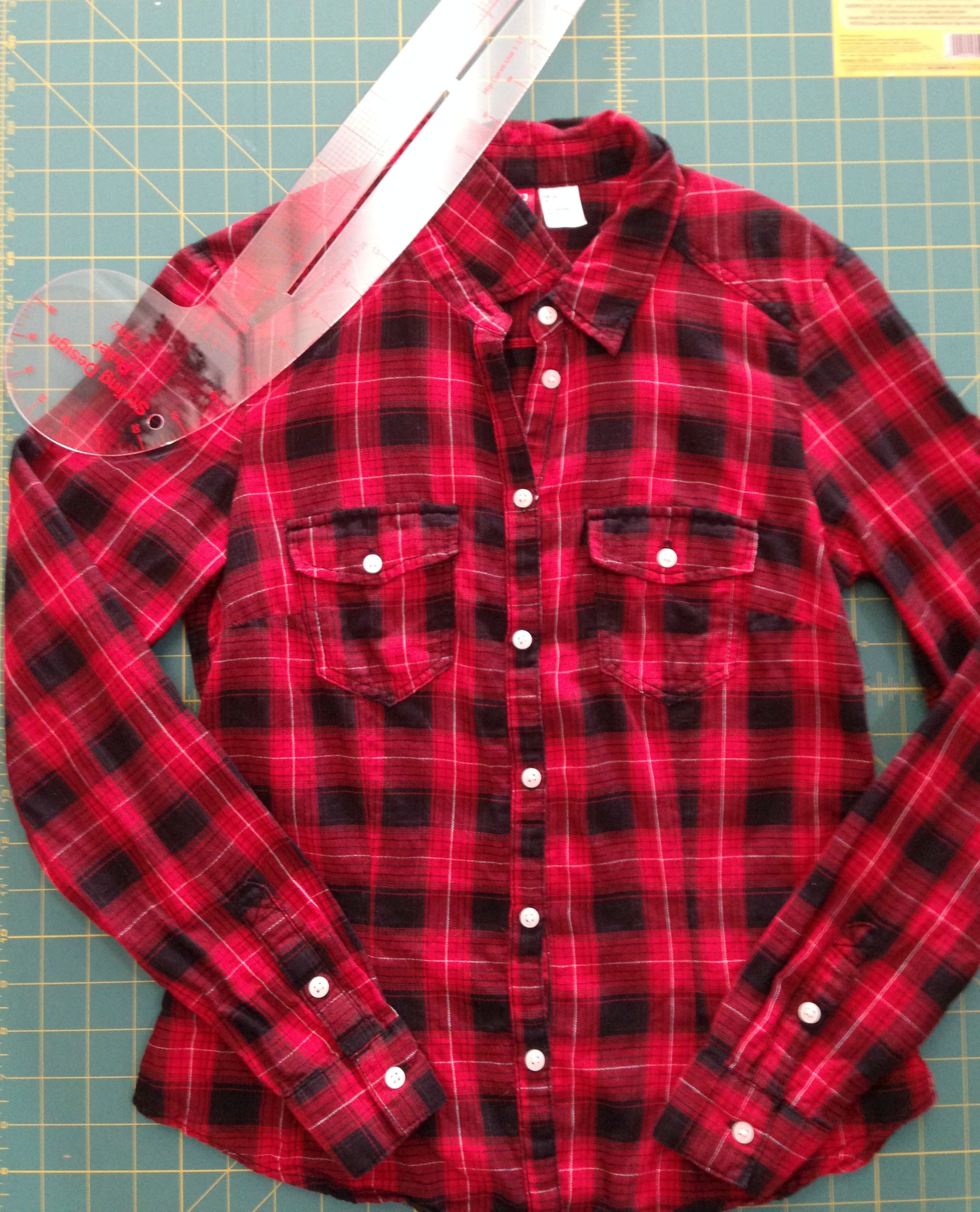 Cold Shoulder Flannel Shirt Refashion - Mark cold shoulder holes