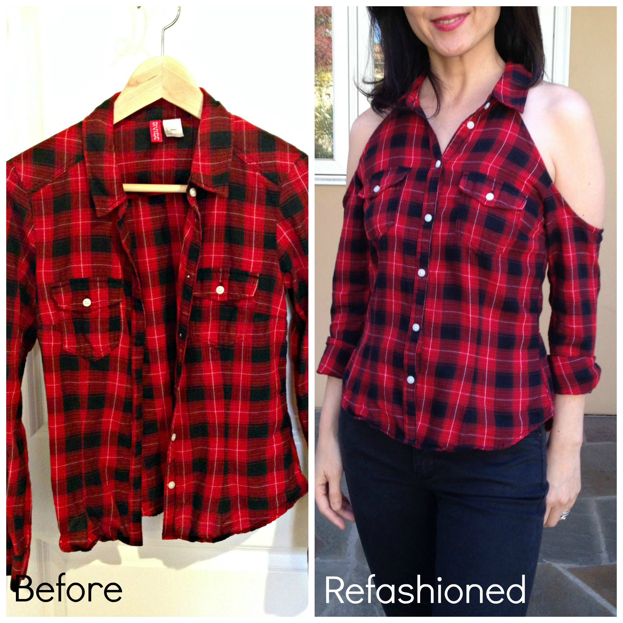 Refashion a $3 thrift store flannel shirt with cold shoulder cutouts