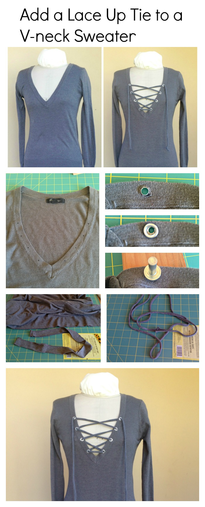 Add a lace Up Tie to a V-neck sweater - Step by step Overview