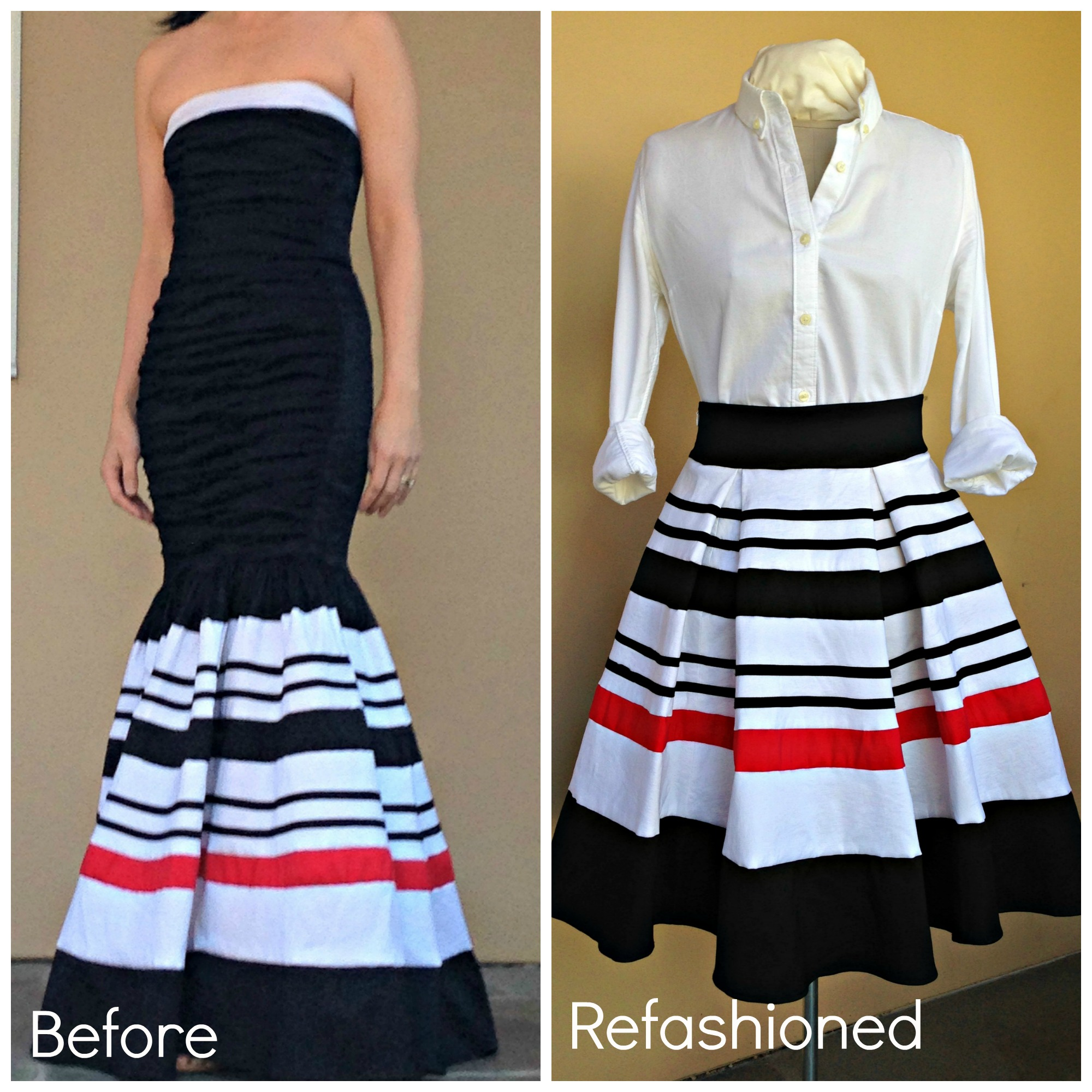 Refashioned Prom Dress into Pleated Skirt - Before and After