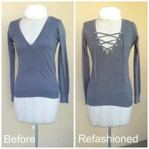 No Sew V-Neck Lace Up Refashion - Before and After