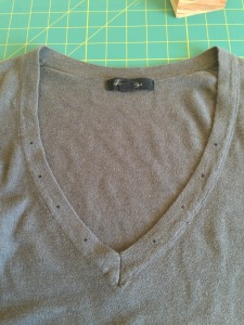 V-neck Lace Up Refashion - mark and cut holes