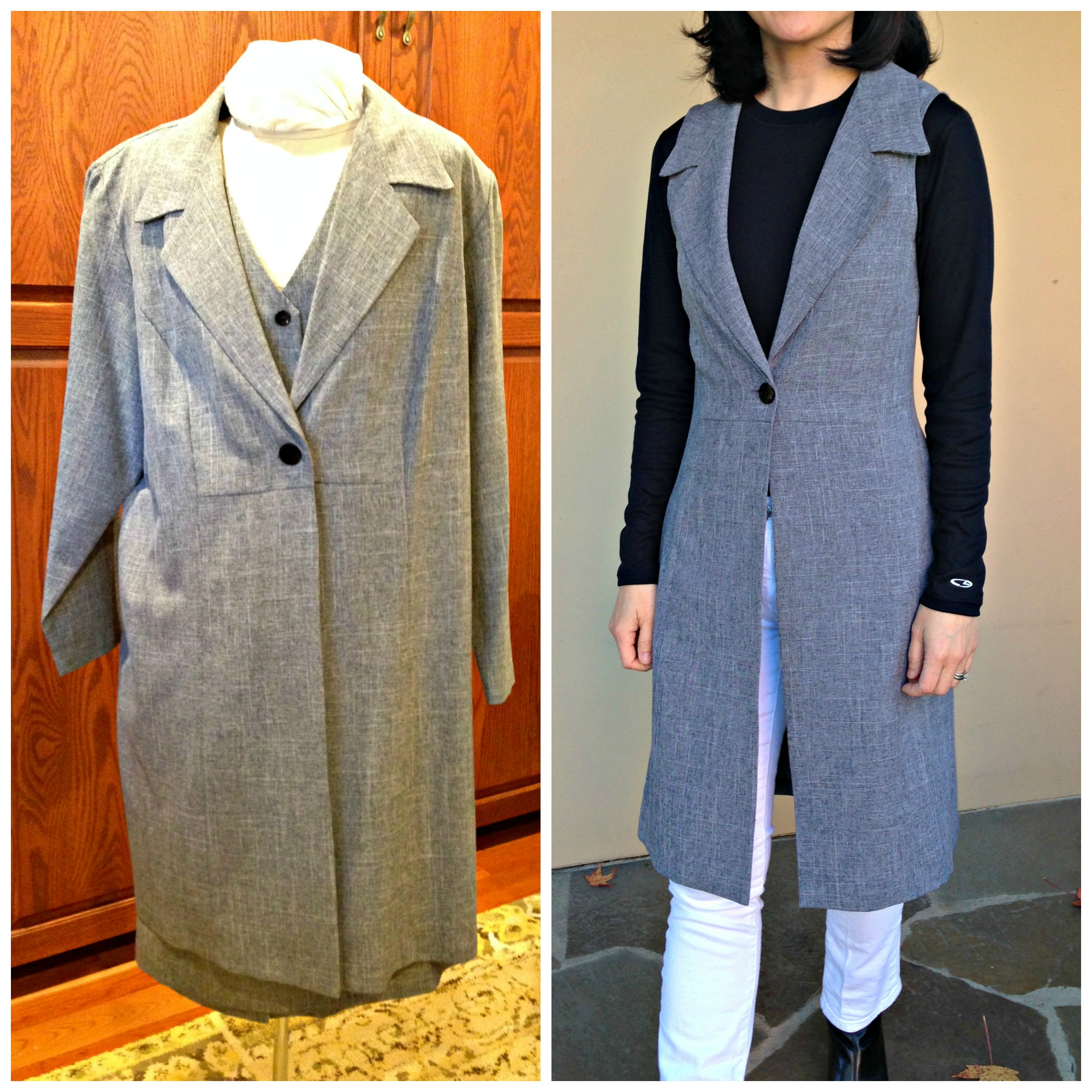 Refashioned sleeveless coat from an enormous suit