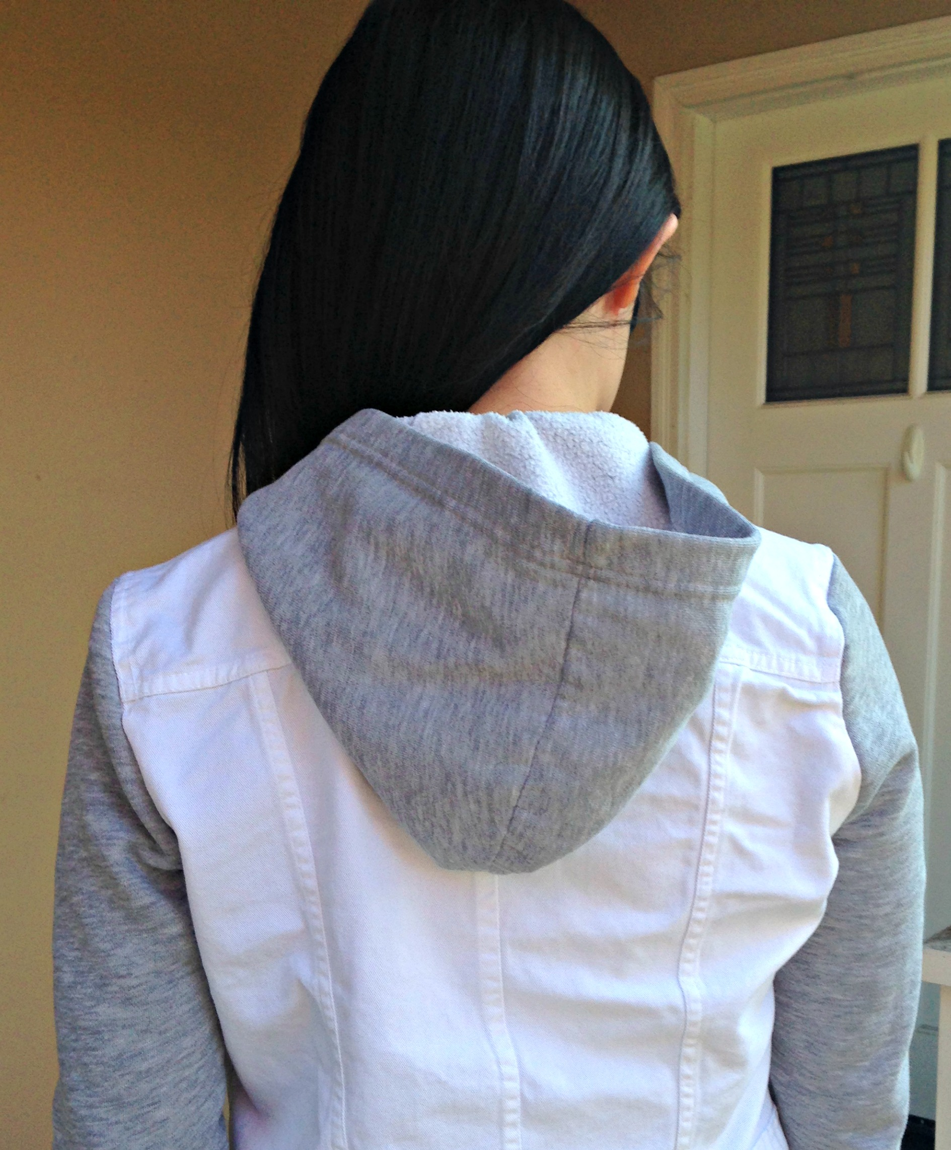 Refashioned Jean Jacket with Sweatshirt Sleeves and Hoodie - back
