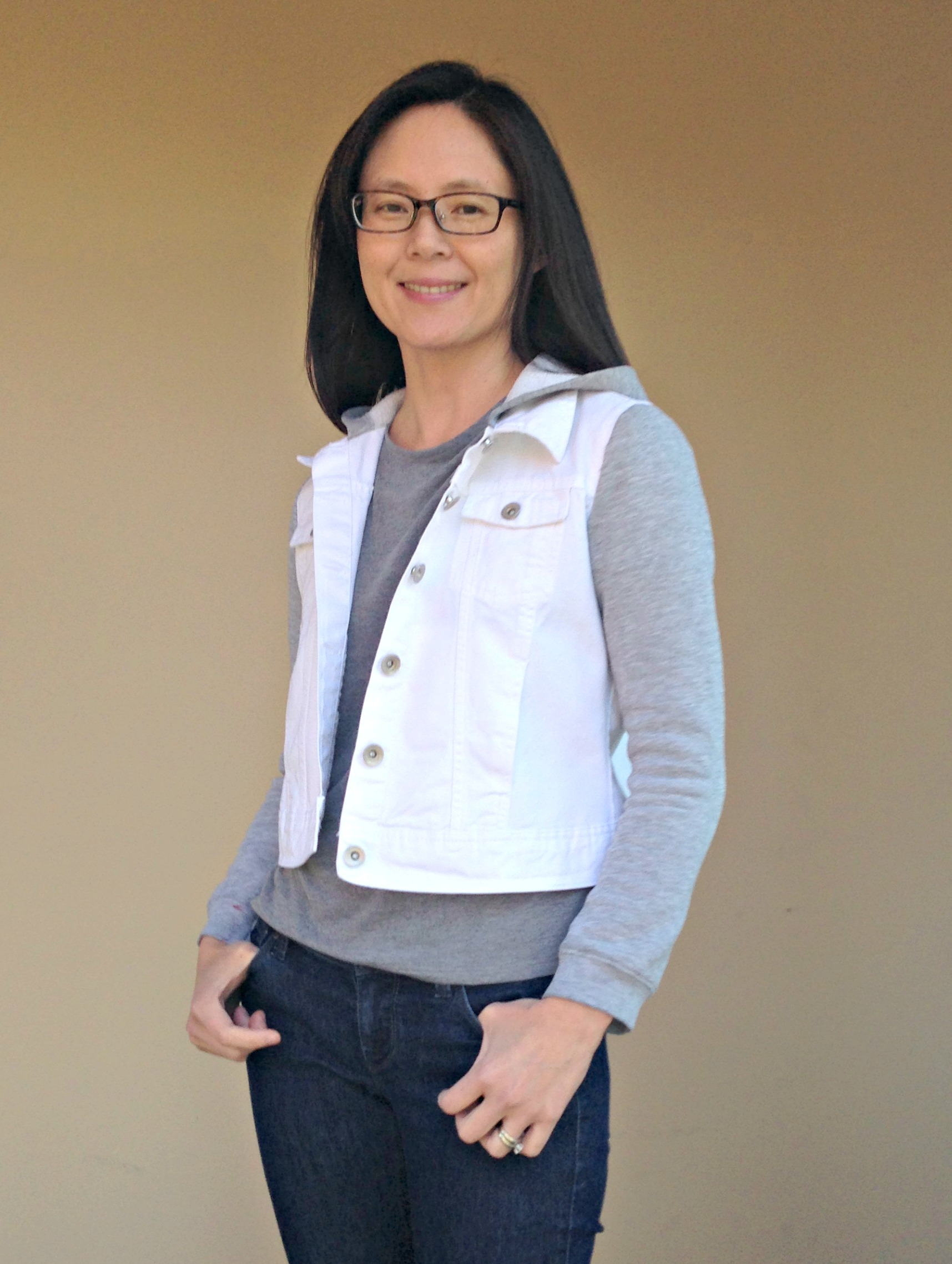 Refashioned Jean Jacket with Sweatshirt Sleeves and Hoodie - After Front