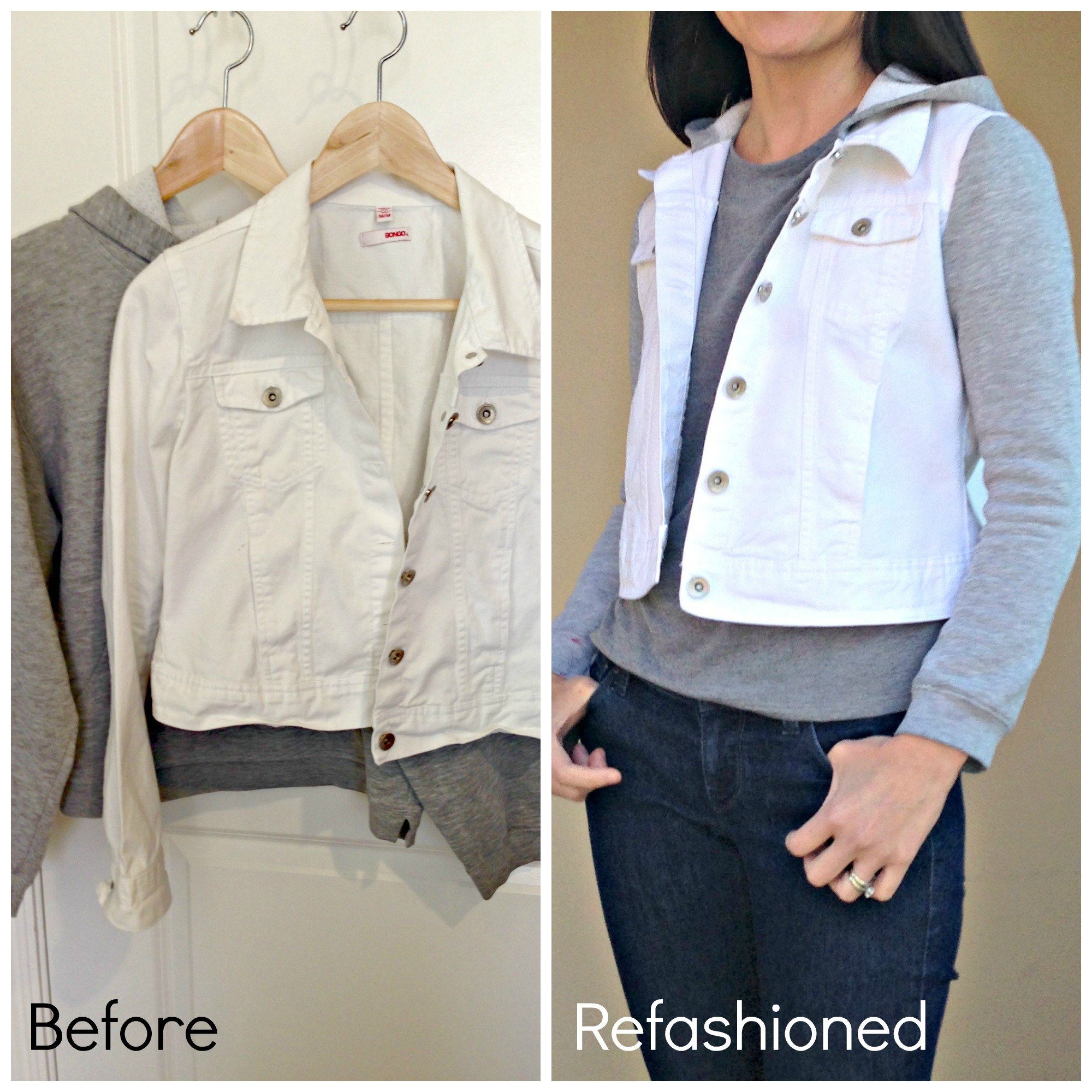 Refashioned Jean Jacket with Sweatshirt Sleeves and Hoodie