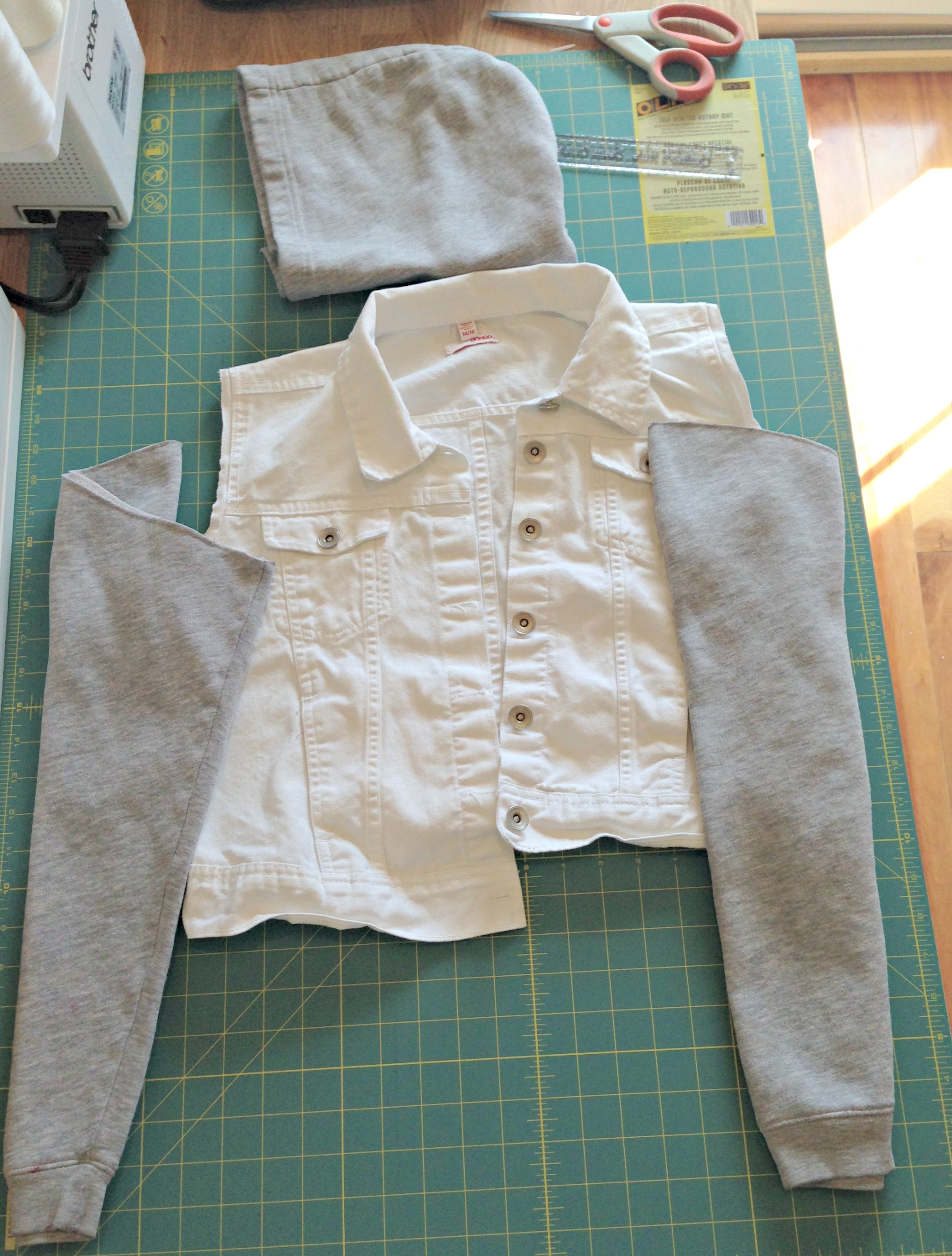 Refashioned Jean Jacket with Sweatshirt Sleeves and Hoodie - Step 1