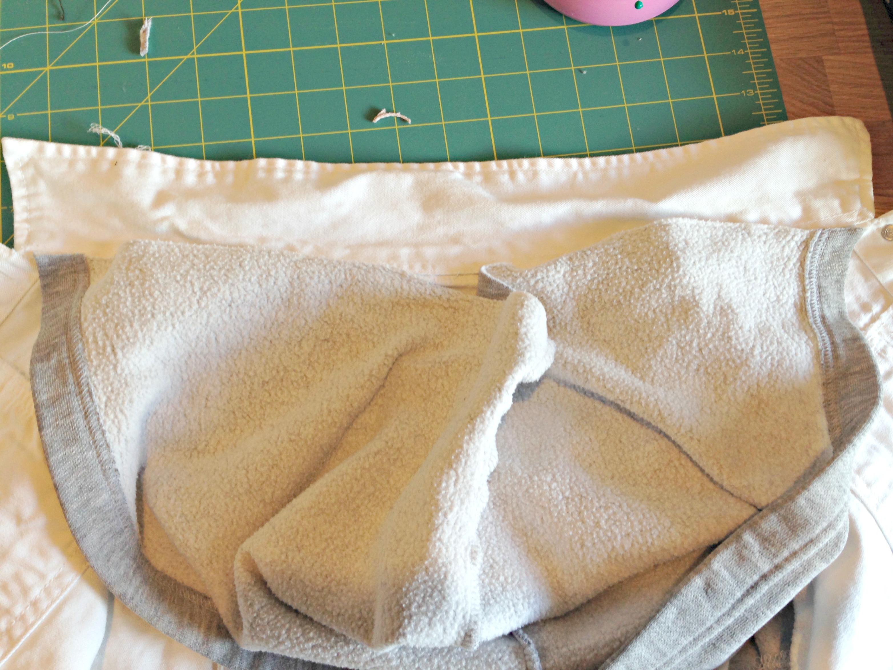 Refashioned Jean Jacket with Sweatshirt Sleeves and Hoodie - resize the hoodie