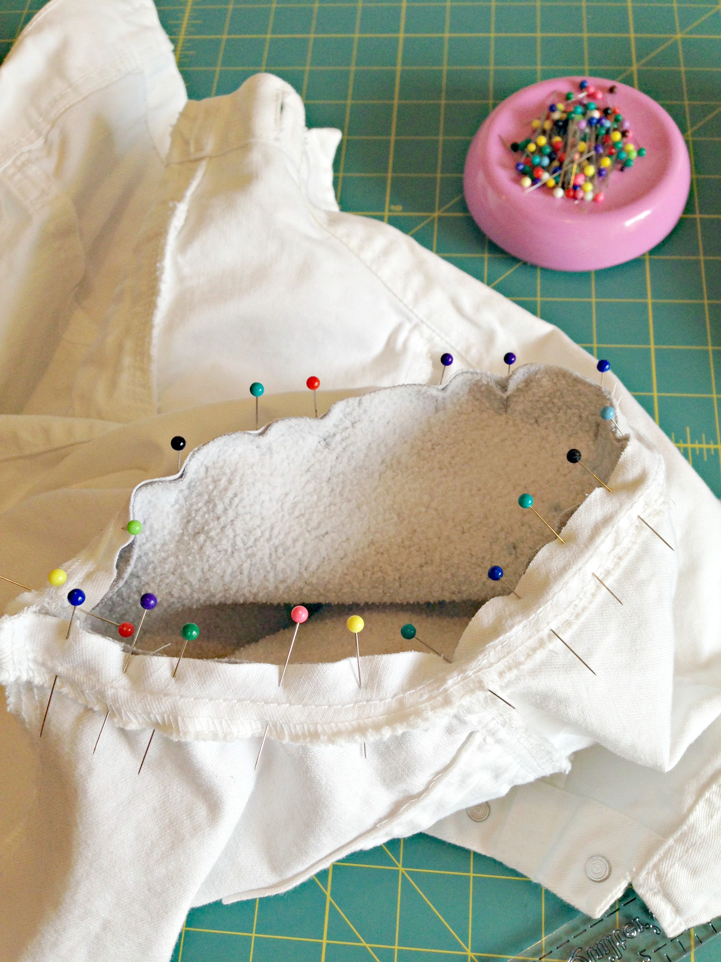 Refashioned Jean Jacket with Sweatshirt Sleeves and Hoodie - Sew sleeve to armhole