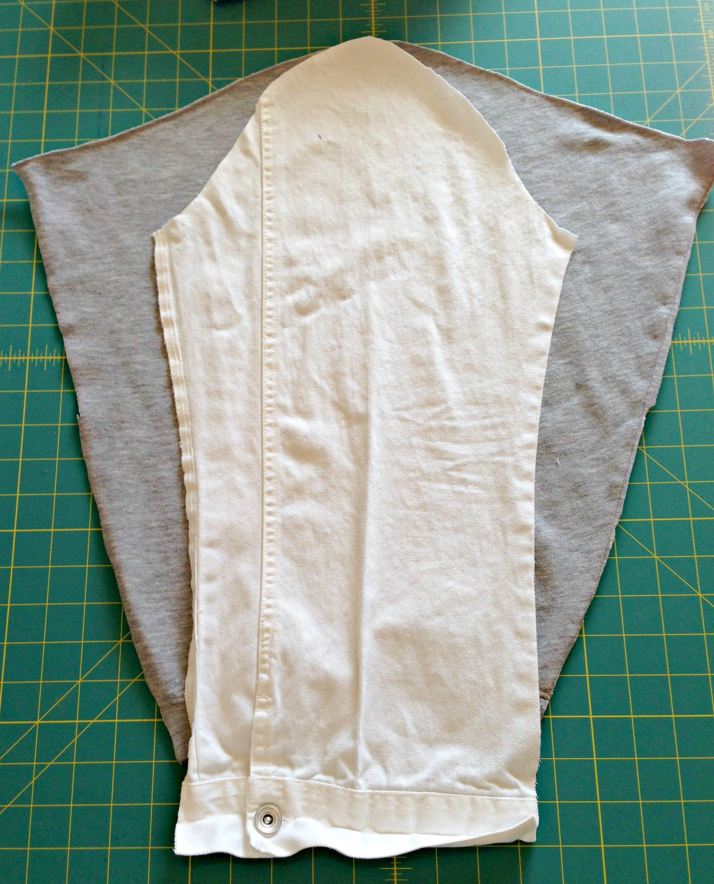 Refashioned Jean Jacket with Sweatshirt Sleeves and Hoodie - Cut out sweatshirt sleeves using the jean jacket sleeve as a pattern