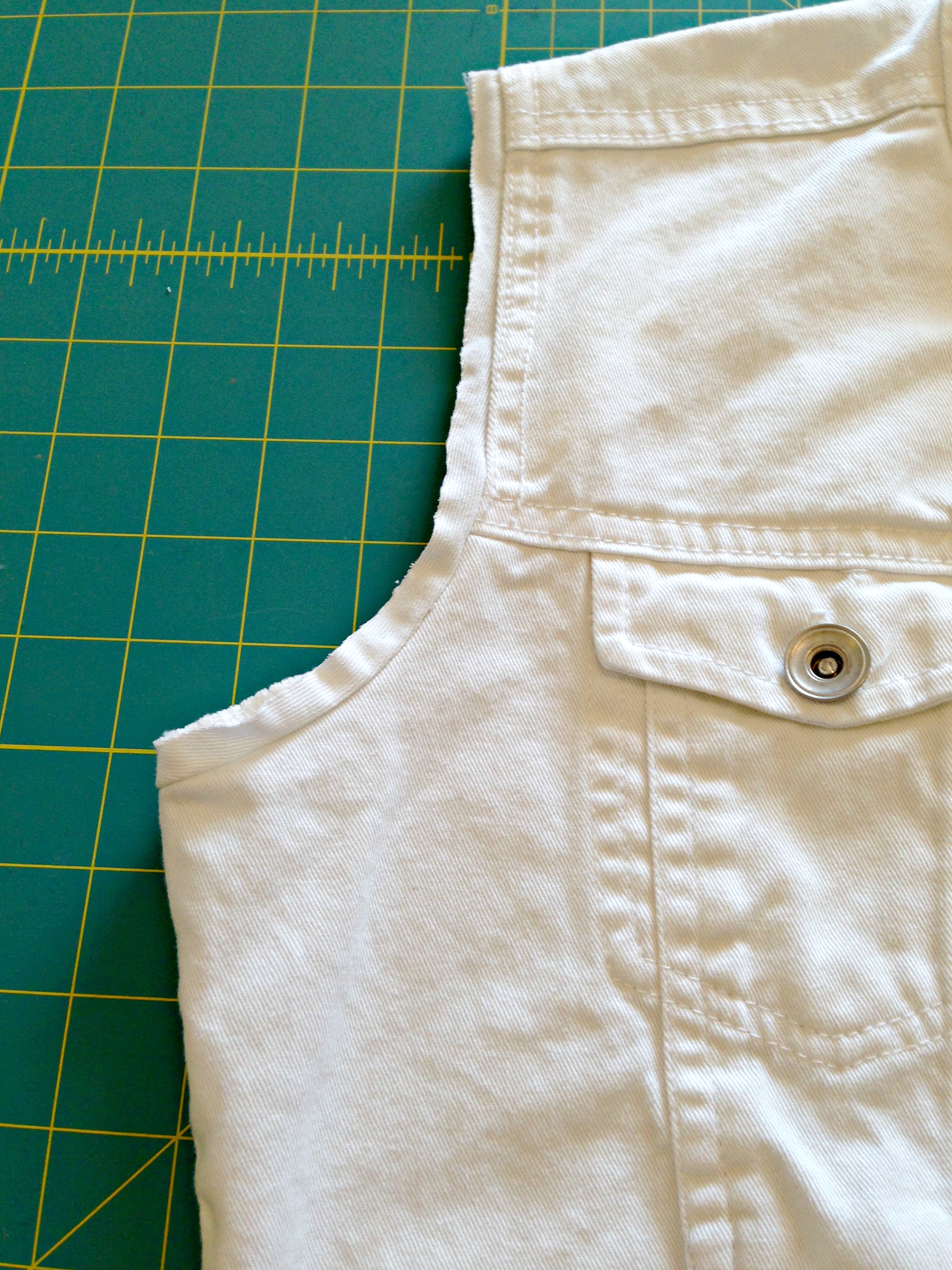 Refashioned Jean Jacket with Sweatshirt Sleeves and Hoodie Close up