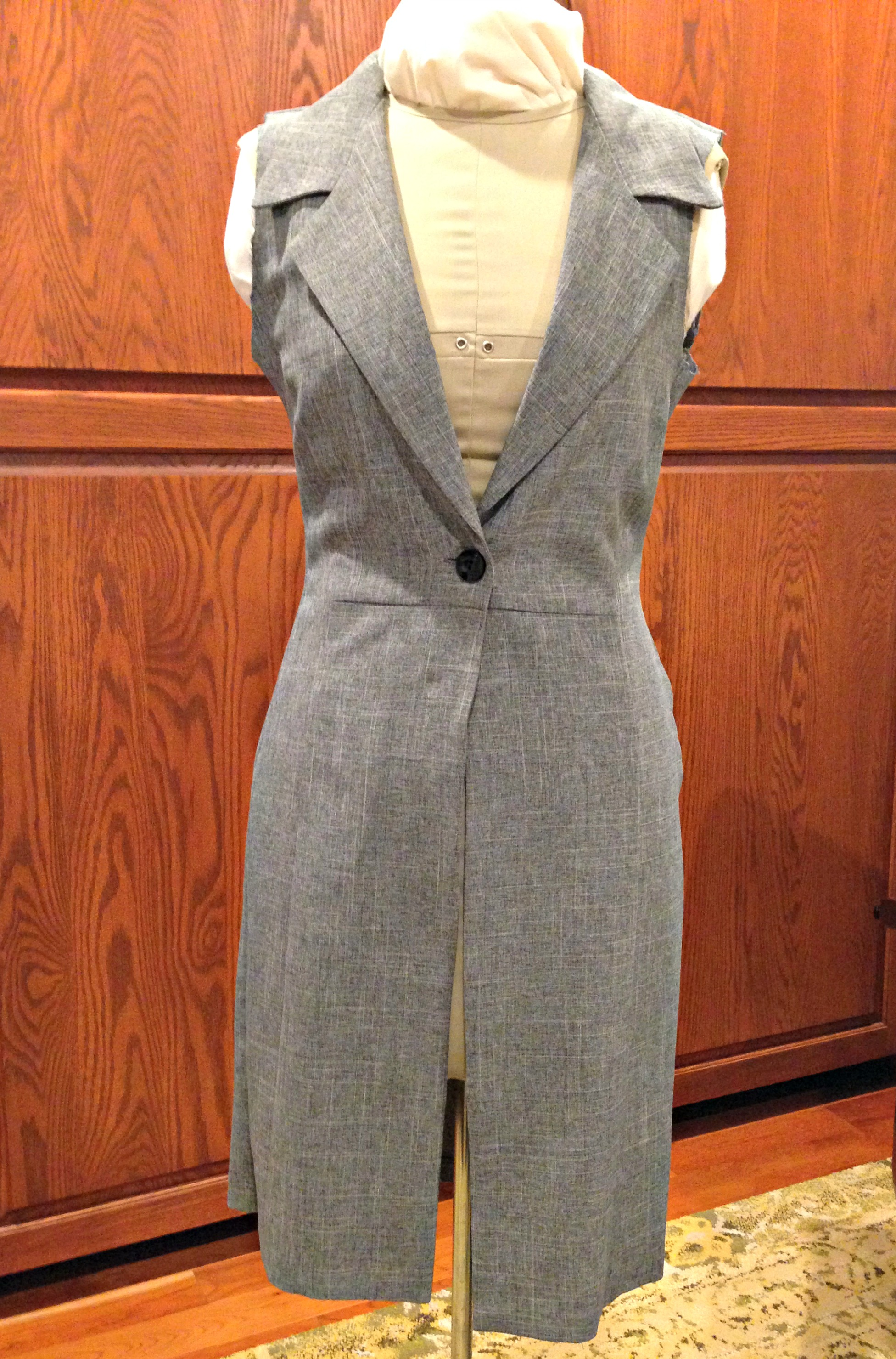 Refashioned Sleeveless Coat with reshaped armholes