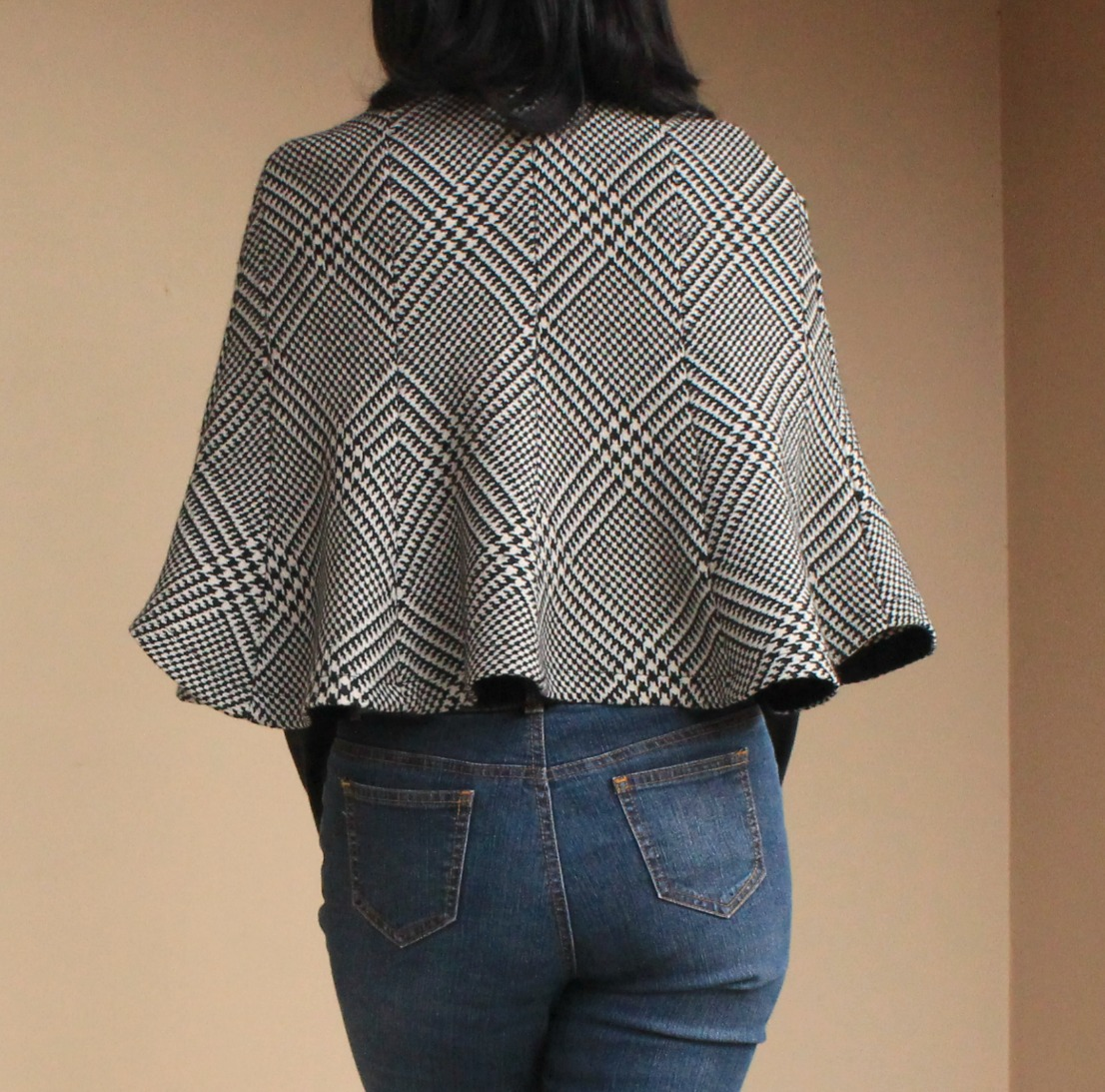 Back view of skirt to capelet refashion.