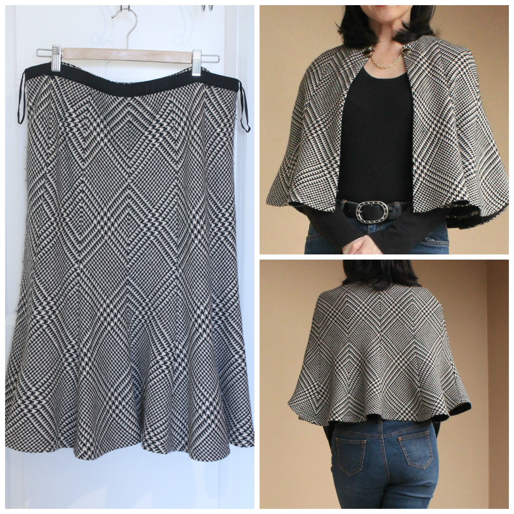 Step by step tutorial on how to refashion a plaid skirt into a cute capelet.
