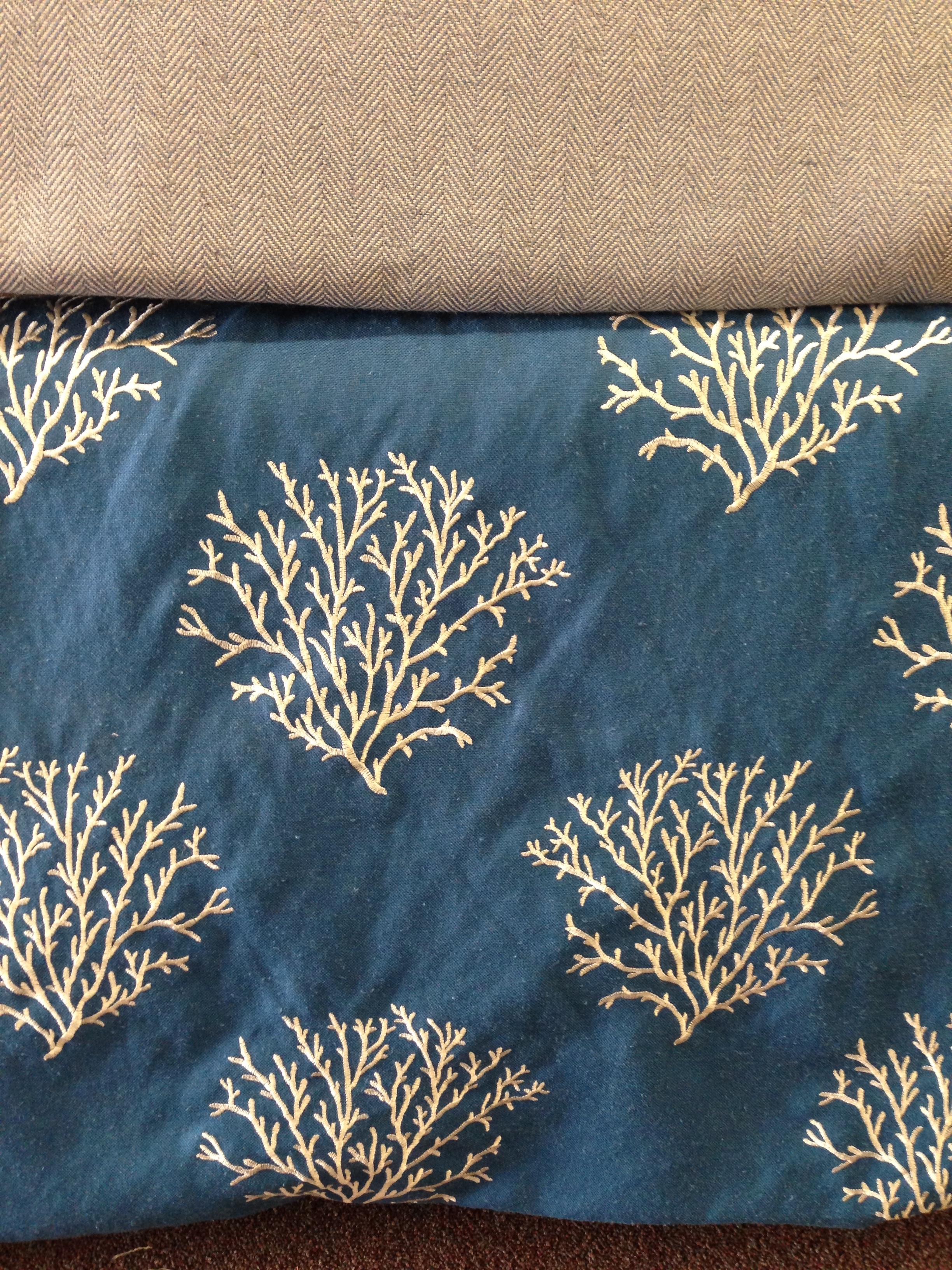Sal Beressi Fabric - Blue Coral fabric