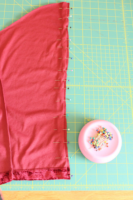 Prep sleeve for blind hem finish for the split sleeve refashion.