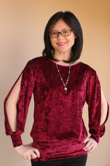 Finished refashioned shirt with split sleeves.