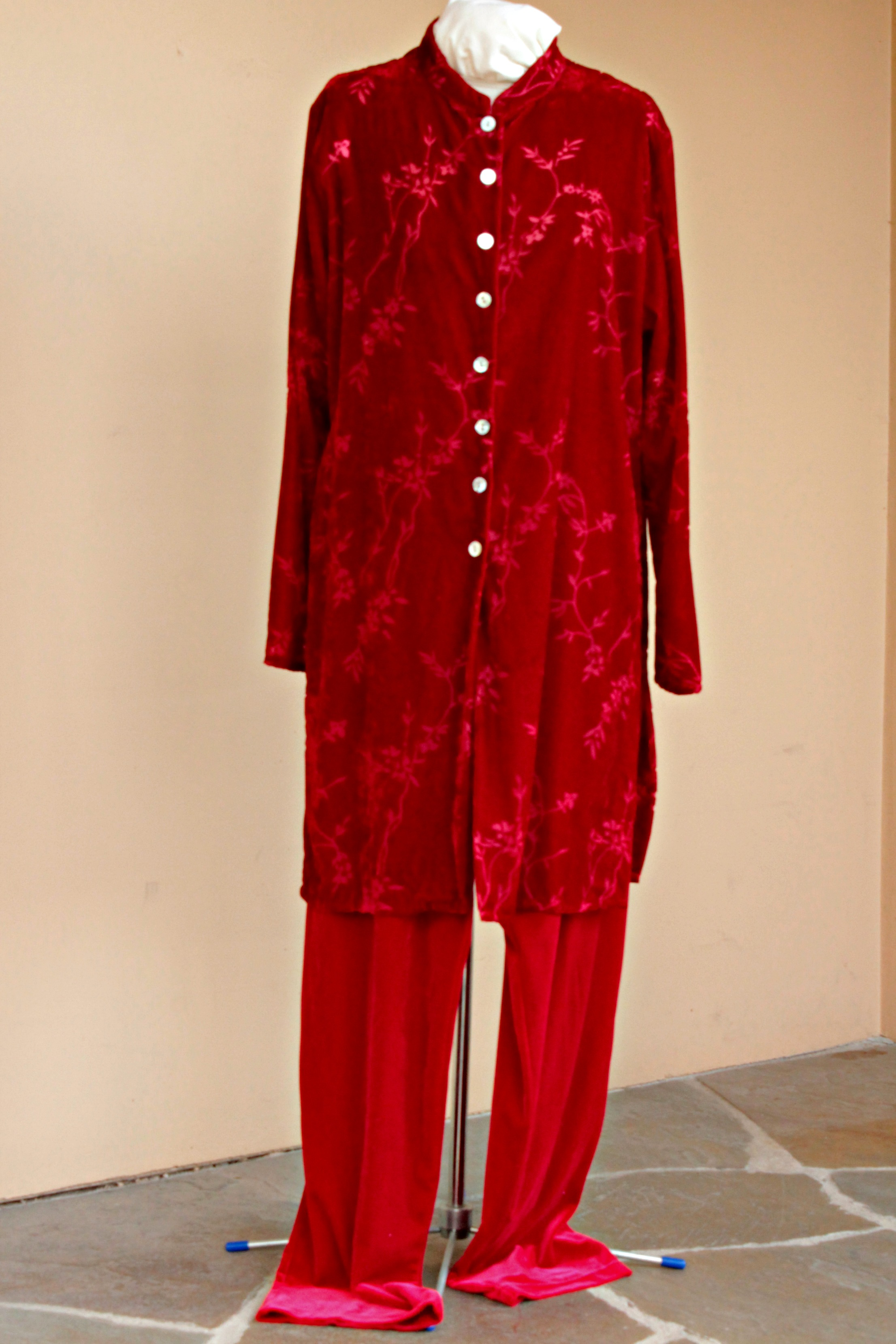 I refashioned this frumpy velvet and velour outfit into a Valentine's Day Jumpsuit.