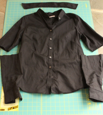 To make my statement sleeves blouse, I cut chopped the sleeves and removed the collar.